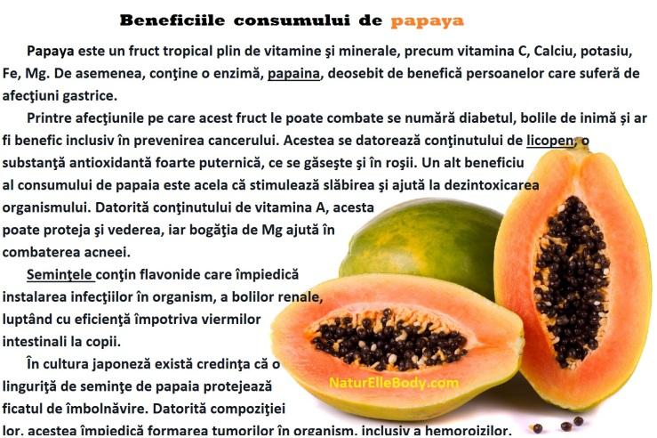 Beneficiile consumului de papaia